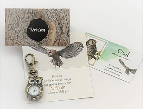 Smiling Wisdom - Owl Watch Key Chain Gift Gift - Thank You Teacher Mentor Coach Counselor Appreciation Gift Set - For Her Woman Man from Parent of Boy or Girl - Bronze - New ()