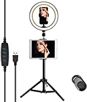 Compatible for iPad Ring Light with Tripod Stand & Phone Holder JACKYLED Selfie Ring Light for Live Stream Dimmable LED...