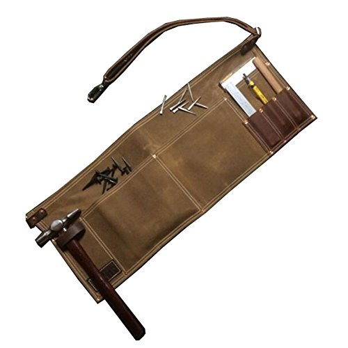 (QEES Multifunction Tool Apron Vintage Brown Leather Single Side Apron With Adjustable Belt and Metal Buckle Waterproof and Durable for Men GJB71 (Khaki))