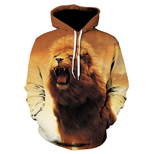 CTAU Mens Unisex Tops Animal Pattern 3D Printing Hoodie Hooded Long Sleeve Pullover Sweatshirts (XXXL, B-Orange)