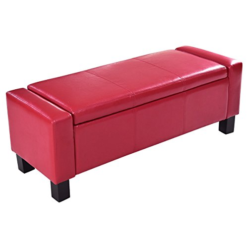 Red Large PU Leather Ottoman Bench Storage Chest Footstool Organizer Chair Furniture