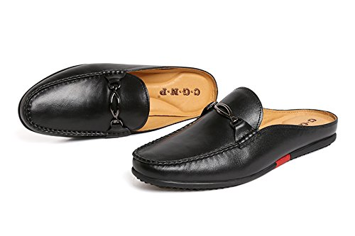 Santimon Mules Clog Slippers Men Fashion Patent Leather Slip on Shoes Casual Loafers Black 9 D(M) US by Santimon (Image #4)