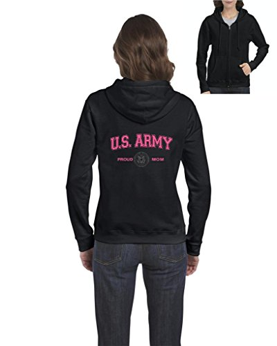 Xekia US Army Proud Mom Pink US Army Men Army Wives Fashion Full-Zip Women's Hoodie Clothes Medium Black