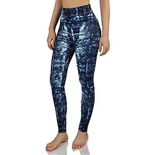 ODODOS Women's High-Rise Pattern Leggings 8/8 Printed Full-Length Yoga Pants with Inner Pockets, Indigo, Small