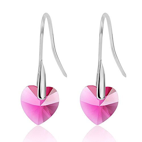 Gorgeous Jewelry Love Heart Lady Romantic Pink Crystal Dangle Silver Plated Earring