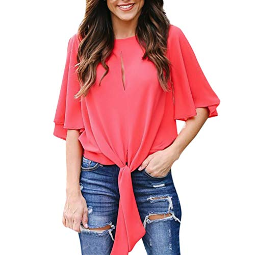 Clearance Women's Tops Cinsanong Casual Tops Blouse Chiffon Split Sleeved Shirt Bandage O-Neck Solid 1/2 Fold (Denim Fold Wallet)