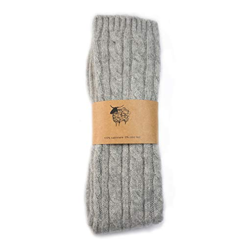 Thick Pure Cashmere Cable Knit Bed Socks for Women, For Sleeping and Relaxing at Home, 2 ply, 5 Colors (Light Grey)