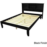 EpicFurnishings Queen-size Solid Wood Tapered Leg Platform Bed with Bookcase Headboard Black Frame Finish Lacquer