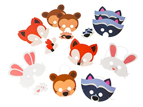 Animal Masks – 12-Pack Assorted Zoo Theme Woodland Party Supplies for Kids Birthday, Dress-Up Party Favors, DIY Photo-Booth Props -