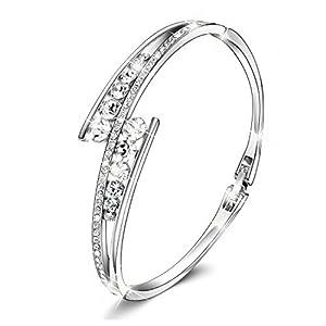 Menton Ezil Love Encounter Swarovski Crystals Bangle Bracelets White Gold Plated Adjustable Hinged Jewelry