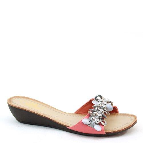 Slides Brieten Strap Brand Wedge Coral Paillette Sandals Bead New 57q7rHnwX