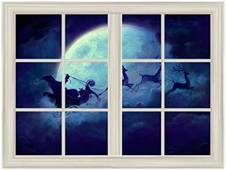 Santa Claus and Reindeer Flying Under The Moon Window View Mural Wall Sticker