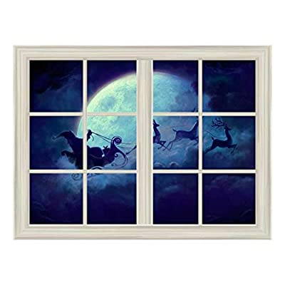 Santa Claus and Reindeer Flying Under The Moon Window View Mural Wall Sticker, With Expert Quality, Pretty Design
