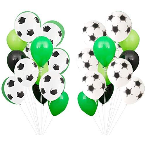 Baipin Globos de Fiesta de futbol, 12 Pulgadas Globos De Latex Verde Blanco para Decoraciones de Fiesta de cumpleanos Ninos, Fiesta tematica Deportiva