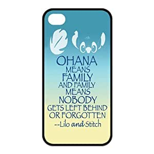 4s Case, iPhone 4 4s Case - Fashion Style New Lilo & Stitch Ohana Painted Pattern TPU Soft Cover Case for iPhone 4/4s(Black/white)