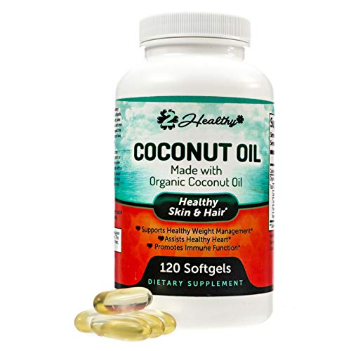 Organic Coconut Oil Capsules - Healthy Skin, Nails, Weight Loss, Hair Growth - Virgin, Cold Press, Non-GMO - Rich in MCT MCFA for Keto Diets - Support Brain Function, Blood Pressure, 120 Softgel Pills (Best Coconut Oil Capsules)