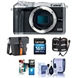 Canon EOS M6 24MP Mirrorless Digital Camera (Body Only) Silver - Bundle With Holster Case, 16GB SDHC Card, Memory Wallet, Cleaning Kit, Software Package