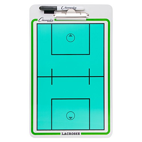 Champion Sports Large Dry Erase Board For Coaching Lacrosse - Whiteboards for Strategizing, Techniques, Plays - 2-Sided Boards with Clip - Front Side Full Field - Backside Half Field and Lineup -