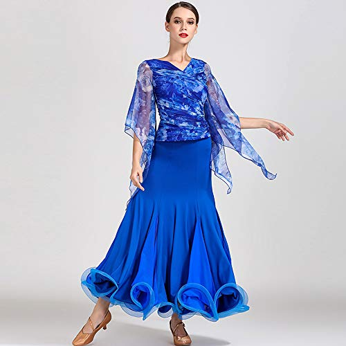 (ZTXY Women Classic Dance Dress Blue Floral Prints Floraltop Social Dance Skirt Latin Belly Dance Outfit CompetitionCostume VoluminousSkirt Large Size XL)