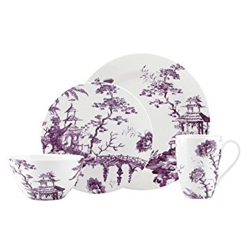 Scalamandre Toile Tale Amethyst 4-piece Dinnerware Place Setting by -