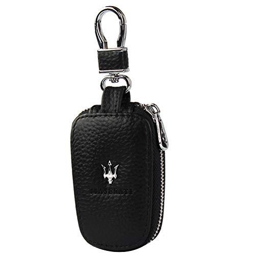 car Key Chain Keychain,Genuine Leather Car Smart Key caseKey Chain Keychain Holder Metal Hook and Keyring Zipper Bag for Remote Key Fob (Maserati)