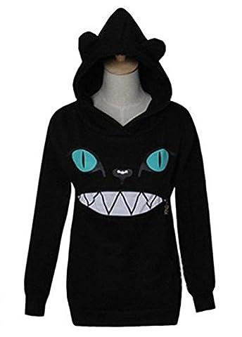 YINUOWEI Cute Women Zip Mouth Smile Jumper Sweater Tops 3D Cat Ear Hoodies (S, Black) - Cat Womens Zip Hoodie