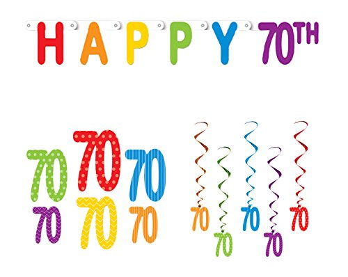 Happy 70th Birthday Party Decoration Bundle with Banner, Cutouts, and Whirls -
