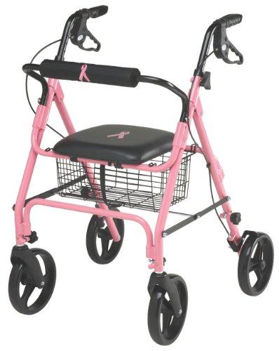 Medline Walker Basket (Medline Breast Cancer Awareness Folding Rollator Walker with 8