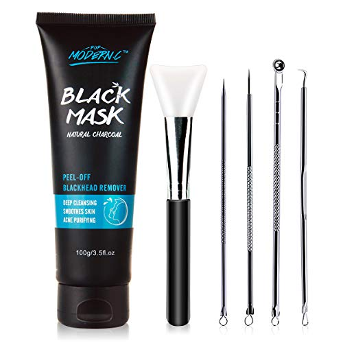 Black Mask-Blackhead Removal Mask Peel Off Facial Black Mask 3.5oz(100G) Pore Control, Skin Cleansing, Purifying Bamboo Charcoal With Blackhead Remover Extractor Tools Kit & Mask Brush (BlackMask) (Best Pore Peel Off Mask)