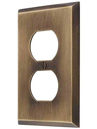 Forged Brass Single - Traditional Forged Brass Single Duplex Cover Plate in Antique-by-Hand