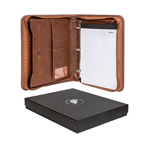 Forevermore Portfolio Padfolio with Zippered Closure, Removable 3 Ring Binder & Bonus Letter Size Writing Pad/ Interview & Resume Document Organizer/ Notebook & Business Card Holder, Brown by Forevermore