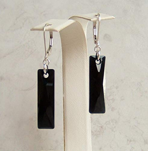 - Classic Jet Black Crystal Rectangle Baguette Sterling Silver Leverback Earrings Gift Idea