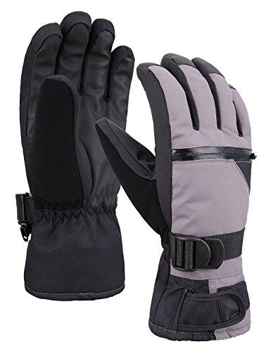 Lined Windproof Gloves (Verabella Snow Gloves Waterproof Windproof Thinsulate Lined Ski Gloves,Grey,M)
