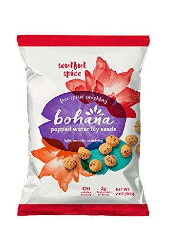 Bohana Gluten Free Popped Water Lily Seed Snack, Soulful Spice, 2oz, (Pack of 6) (Salted Water)