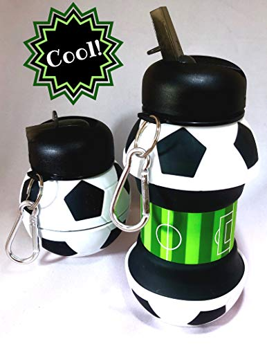 BRIILLIANCE Collapsible Soccer Ball Water Bottle Jug Leak Proof Silicone BPA Free Fun Cool Stocking Stuffer Idea for Kids Sports Squeezable Durable Compact w/Clip Rapid Flow Straw Wide Mouth