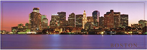 Boston City Skyline At Night Wall Decor Poster Art Print (12x36) (City Skyline Poster)