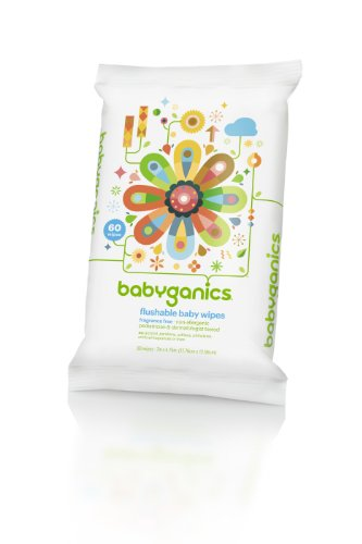 (BabyGanics Flushable Wipes, Thick N Kleen, 60 Count (pack of 3), Packaging May Vary)