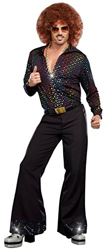 Disco Costumes Male (Dreamgirl Men's Disco Dude Costume, Multi-Colored, Large)