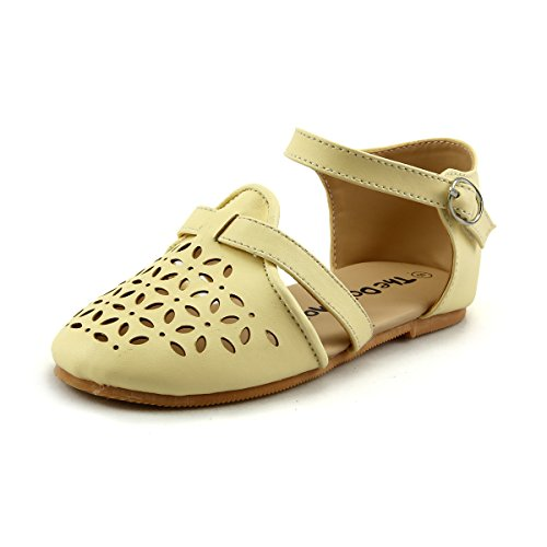 Girl's Closed Toe Casual Flat Sandal Shoes Laser-cut Style Yellow Toddler Size ()
