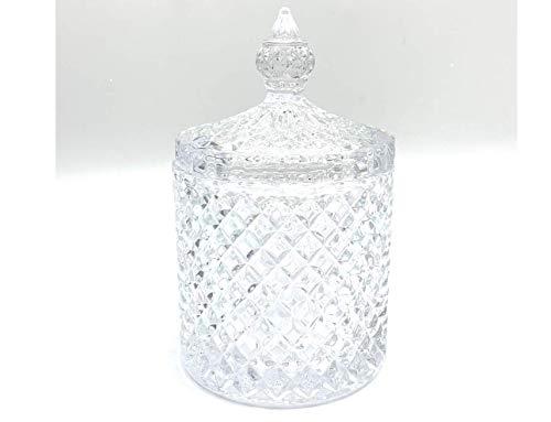 (Delisoga Diamond Cut Glass Jar   Geo Cut Jar   Candle Jar   Candy Dish   Clear Glass Jar)