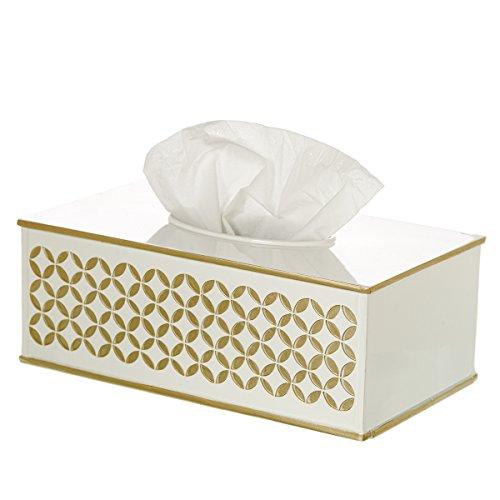 Diamond Lattice Tissue Box Cover Rectangular, Decorative Bath Tissues Paper Napkin Holder- Resin Rectangle Napkins Container- Bottom Slider- For Elegant Bathroom Decor