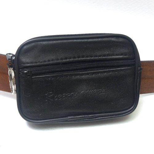 New Black Leather Pocket Belt Loops Waist Bag Mini Coin Wallet Key Ring Purse-003 (1.5 Cm Leather Belt)