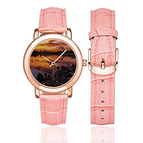 Landscape Rose Gold Leather Strap Watch,USA Missouri Kansas City Scenery of a Sunset Lake Nature Camping Themed Art Photo for Woman,Case Diameter:1.4