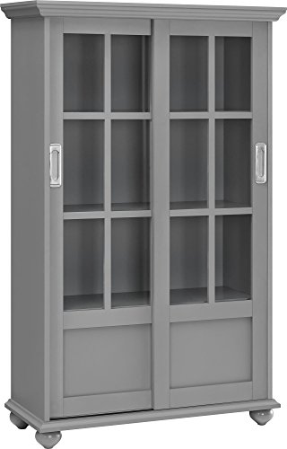 Ameriwood Home Altra Aaron Lane Bookcase with Sliding Glass Doors, Soft Gray (Furniture Painted Office)