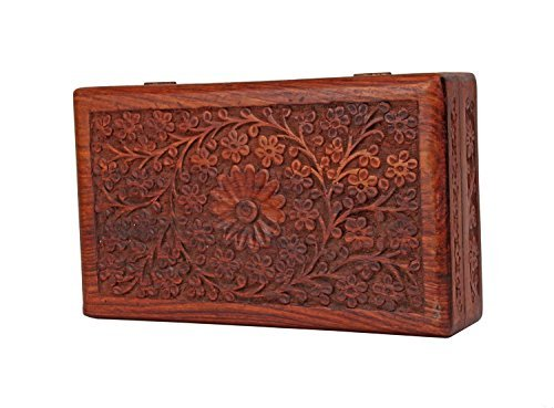 Store Indya Exotic Hand Carved Wooden Keepsake Jewelry Trinket Box Storage Organizer with Floral Patterns & Velvet Interior
