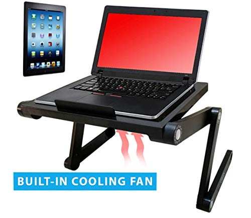 Vented Laptop&Tablet Stand by Desk York-Great for Book Reading - Use it in Bed,Couch,Sofa -Birthday Gift for Friends Men Women Student-Foldable Computer Recliner Stand -Lap Top Tray-Black -
