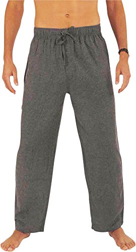 NORTY - Mens Cotton Flannel Sleep Pajama Pant, Grey Smoke 39984-Large