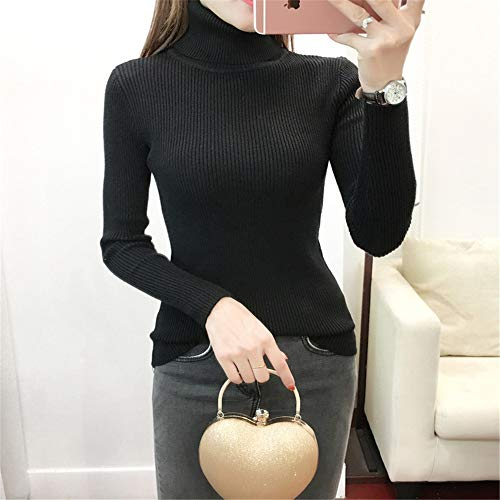 Lunghe Maniche Da Maglione Abbigliamento Temperamento A Snellente Caldo Glamour Alto Collo Nero Donna Corpo Shirloy qxwYX1PInq