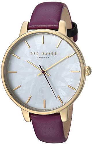 Ted Baker Women's Quartz Stainless Steel and Leather Casual Watch, Color Purple (Model: TE15200002)
