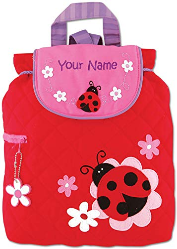(Personalized Stephen Joseph Ladybug Quilted Backpack with Embroidered Name)